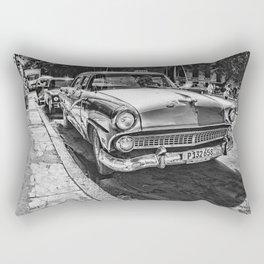 Havana, Cuba '57 Taxi Street Scene Black and White Photographic Art Print Rectangular Pillow