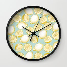 Lemons On Turquoise Background Wall Clock
