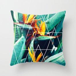Modern white geometric triangle tropical bird of paradise photography Throw Pillow