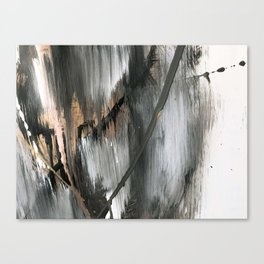 01025 [2]: a neutral abstract in gold, black, and white Canvas Print