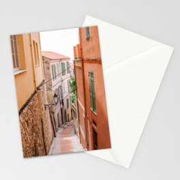 French orange & yellow town - Old house alley in Menton, France, South Europe | Travel photography Stationery Cards