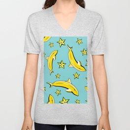 Vitamin tasty bananas dolphin pattern. Tropical food vegetarian organic background.Yummy summer cove Unisex V-Neck