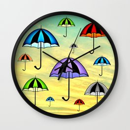 Colorful umbrellas flying in the sky Wall Clock