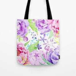 Watercolor Pink and Purple Peony Frame Tote Bag