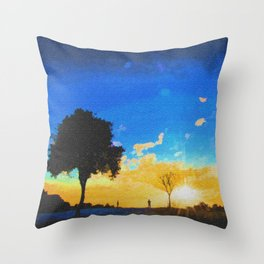 Before dusk melted colors of the world. Throw Pillow