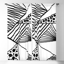 Modern abstract black white geometric stripes polka dots Blackout Curtain