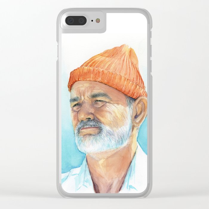 Steve Zissou Art Life Aquatic Bill Murray Watercolor Portrait Clear iPhone Case