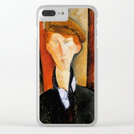 """Amedeo Modigliani """"Young Man with Cap"""" Clear iPhone Case"""