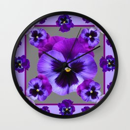 LILAC PURPLE PANSIES GARDEN Wall Clock
