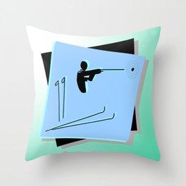 Biathlon silhouettes Throw Pillow