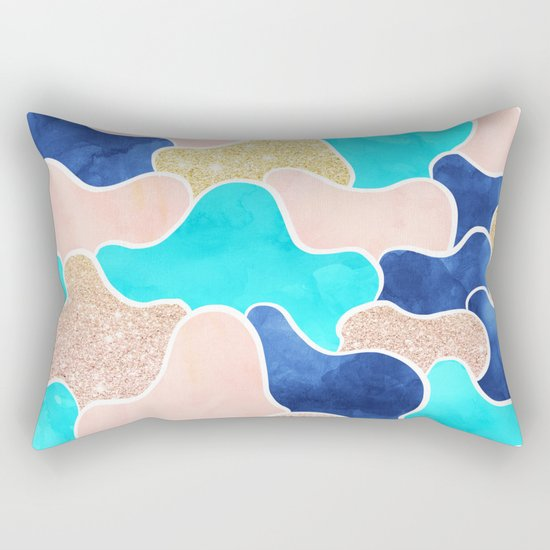 Color block faux gold turquoise pink watercolor Rectangular Pillow