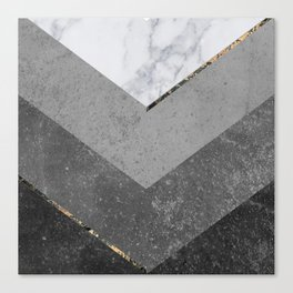 Marble Gray Copper Black Gold Chevron Canvas Print