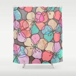 It's Always Summer Somewhere - bright poppy floral Shower Curtain