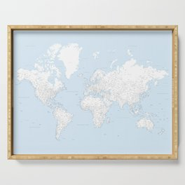 World map, highly detailed in light blue and white, square Serving Tray