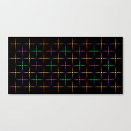 Neon diamonds. Pattern or background of multicolored neon stars on a black background Canvas Print