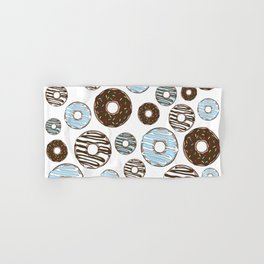 Pattern Of Donuts, Sprinkles, Icing - Blue Brown Hand & Bath Towel