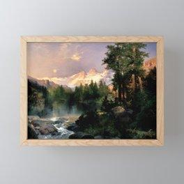 The Three Tetons, Grand Teton Mountains, Jackson Hole, Wyoming by Thomas Moran Framed Mini Art Print