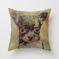 chihuahua Throw Pillows featuring Chihuahua by Michael Creese