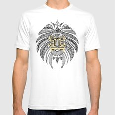 Whimsical Tribal Lion White Mens Fitted Tee MEDIUM
