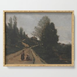 Jean-Baptiste-Camille Corot - Gouvieux, prs Chantilly Chemin montant Serving Tray