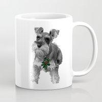 schnauzer Mugs featuring Christmas Schnauzer by RsDesigns