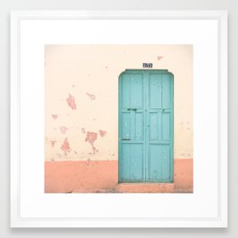 Blue Door (Retro and Vintage Urban, architecture photography) Framed Art Print