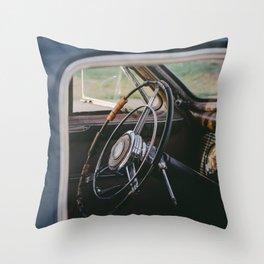 Vintage Steering Wheel Throw Pillow