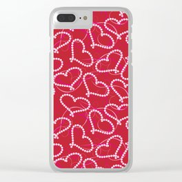 White Dotted Hearts Pattern on Red Background. White Hearts. Valentine Hearts. Pink Swirly Clear iPhone Case