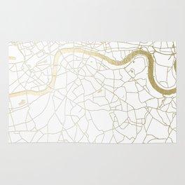 London White on Gold Street Map Rug