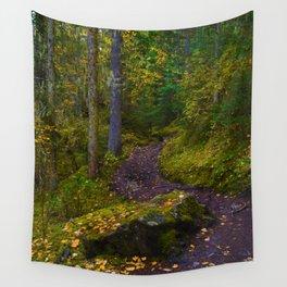 Walking along the Berg Lake Trail in Fall Wall Tapestry