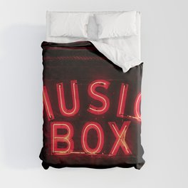 The Music Box Neon Sign Chicago Illinois Arthouse Theatre Vintage Cinema Movie House Theater Duvet Cover