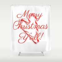 Merry Christmas Y'all Candy Cane Shower Curtain