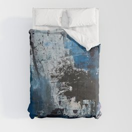Breathe: colorful abstract in black, blue, purple, gold and white Comforters