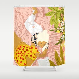 Pepperoni Pizza #illustration #painting Shower Curtain