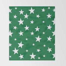 Hand-Drawn Stars (White & Olive Pattern) Throw Blanket