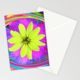 Psychedelic Yellow Zinnia on a Groovy Twirl Stationery Cards
