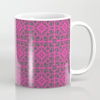 gray pattern Mugs featuring Magenta Gray pattern by xiari