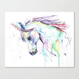 Colorful Unicorn Watercolor Painting - Kenzie's Unicorn Canvas Print