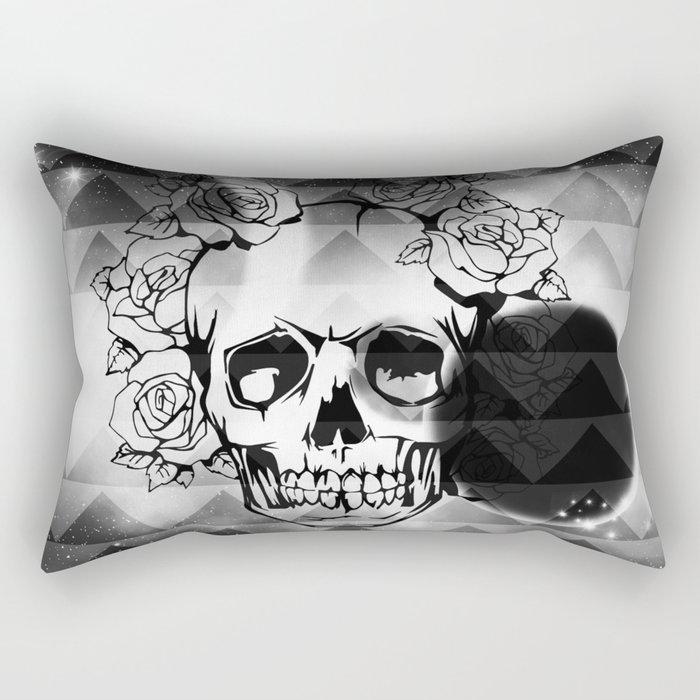 bw space skull  Rectangular Pillow