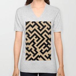Black and Tan Brown Diagonal Labyrinth Unisex V-Neck