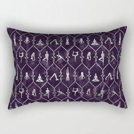 Pearl Yoga Asanas pattern on amethyst Rectangular Pillow
