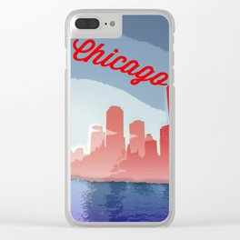 Chicago Skyline Travel Poster Clear iPhone Case