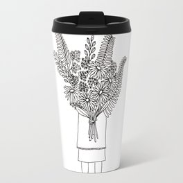 Flowers For You Ink Drawing Travel Mug
