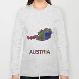 Austria map outline Multicolor hand-drawn watercolor pattern Long Sleeve T-shirt