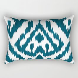 Dark Turquoise ikat Rectangular Pillow