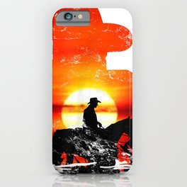 Vintage Western Sunset Cowboy Equine Riding Rodeo Mens Child iPhone Case