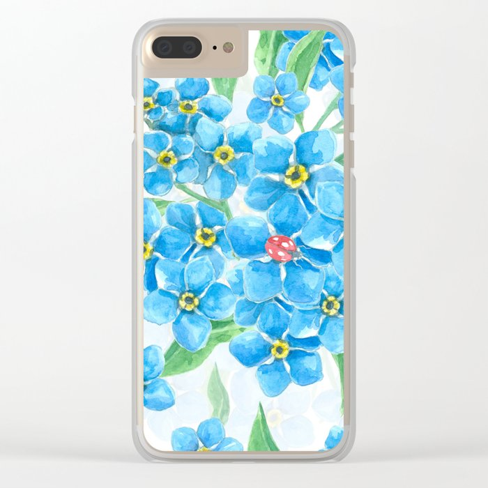 Forget me not seamless floral pattern Clear iPhone Case