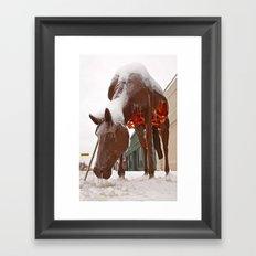 Frozen horse Framed Art Print