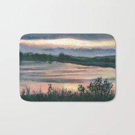 Summer Sunset at Baker Wetlands Painting Bath Mat