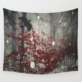 Heart of Winter - Red Tree in Forest Wall Tapestry